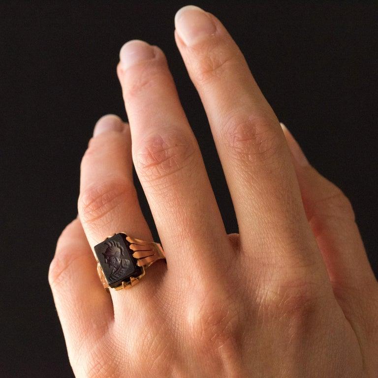 Women's or Men's 20th Century 18 Karat Rose Gold Sardoine Unisex Signet Ring For Sale