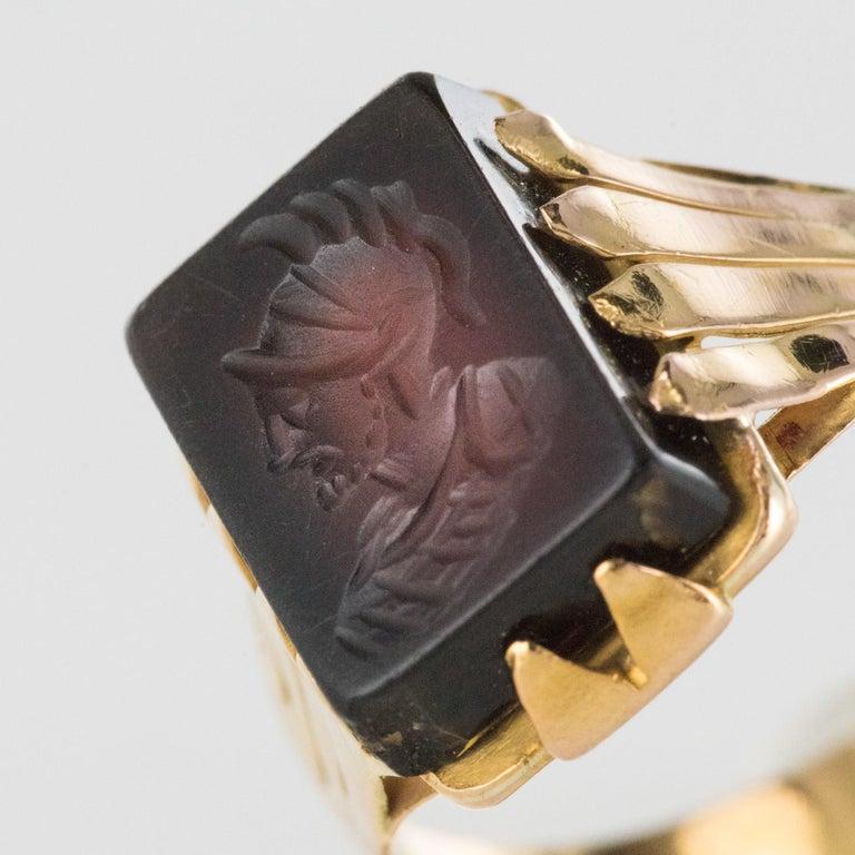 20th Century 18 Karat Rose Gold Sardoine Unisex Signet Ring For Sale 1