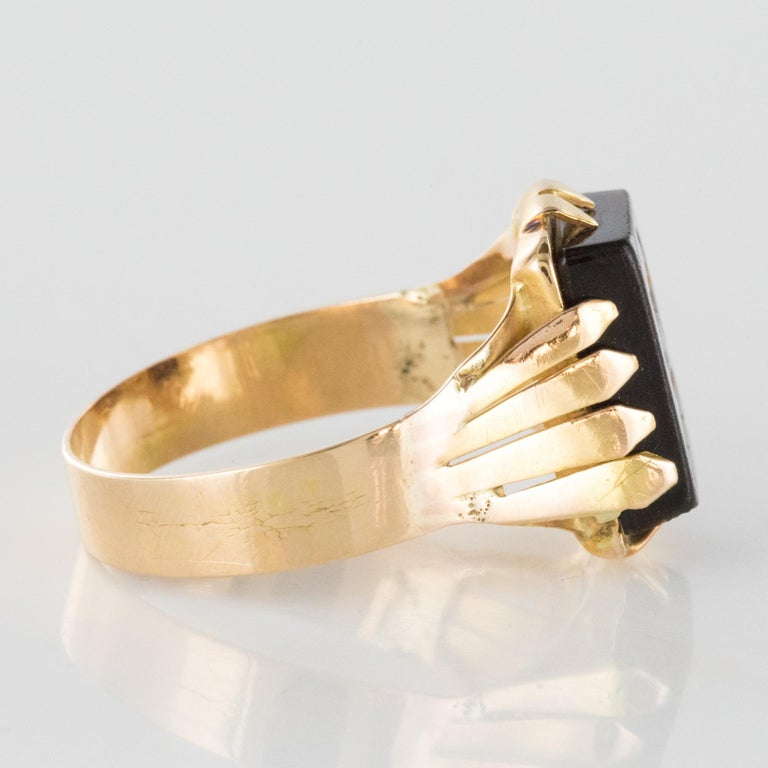 20th Century 18 Karat Rose Gold Sardoine Unisex Signet Ring For Sale 2