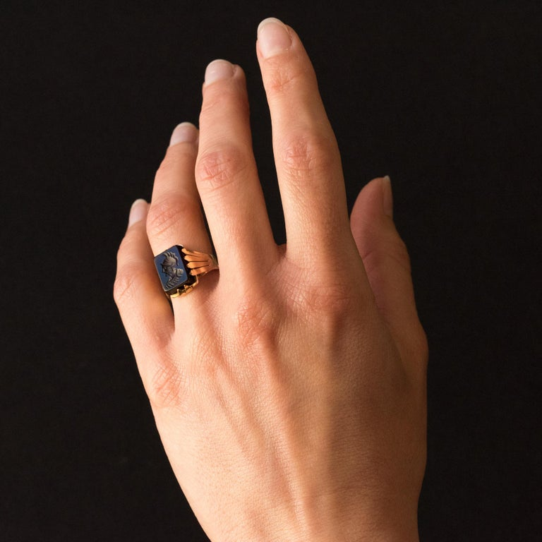 20th Century 18 Karat Rose Gold Sardoine Unisex Signet Ring For Sale 3