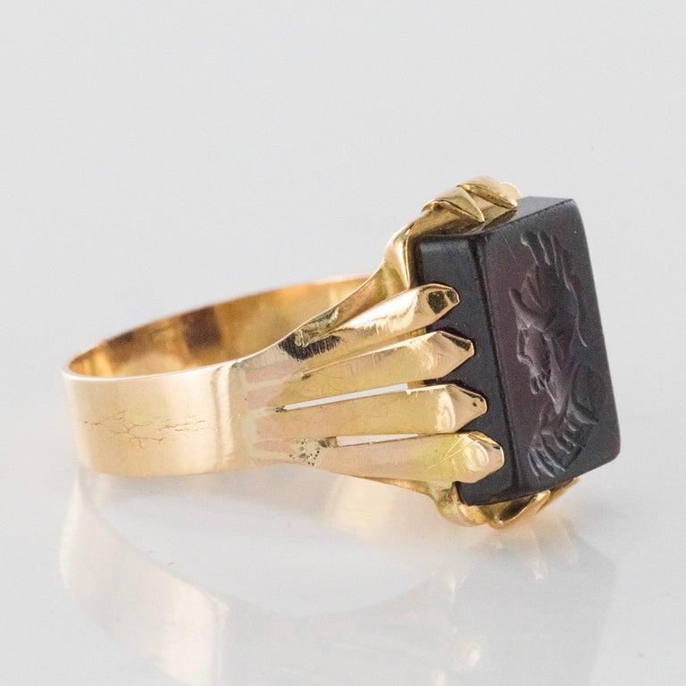 20th Century 18 Karat Rose Gold Sardoine Unisex Signet Ring For Sale 4