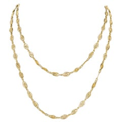 20th Century 18 Karat Yellow Gold Filigree Long Chain Necklace