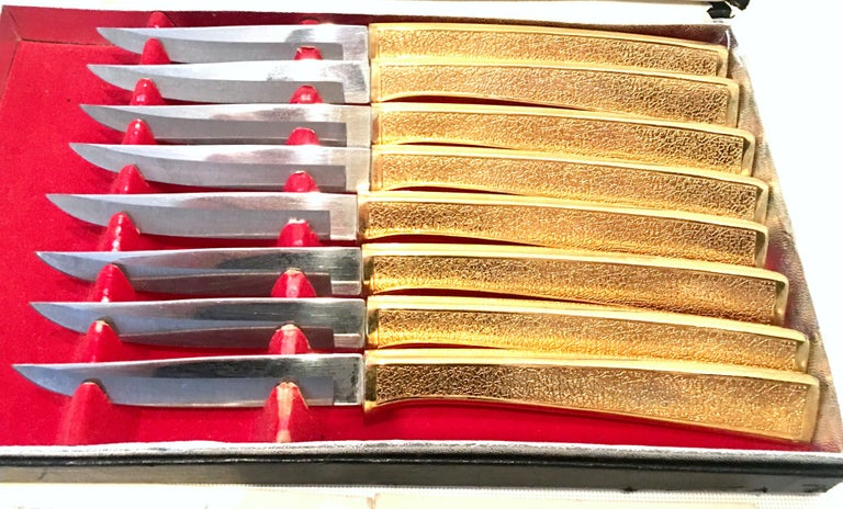 Plated 20th Century 23-K Gold Steak Knife Boxed Set of Eight Pieces by, Carvel Hall For Sale