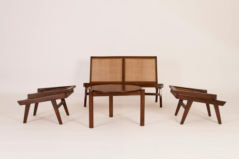 Mid-Century Modern Pierre Jeanneret 3-Piece Suite, Folding back on Hinges, Circa 1958 For Sale