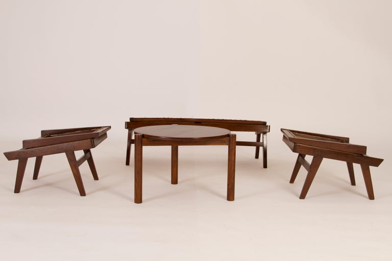 Indian Pierre Jeanneret 3-Piece Suite, Folding back on Hinges, Circa 1958 For Sale