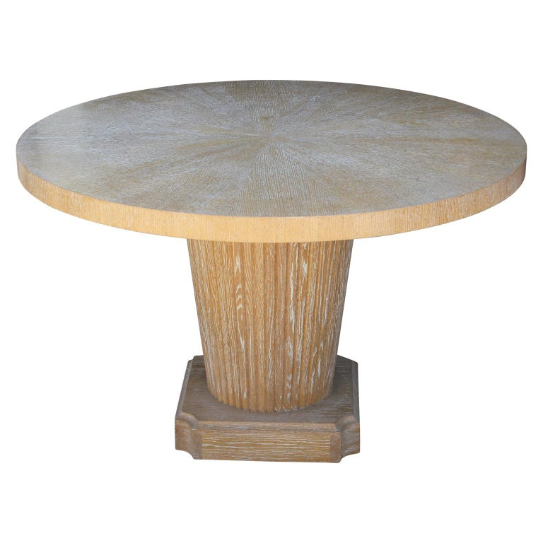 20th Century Round Cerused Oak Dining Table Art Deco Style