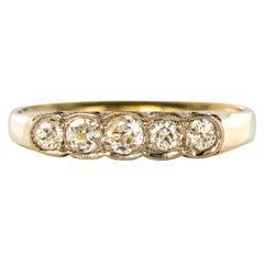 20th Century 5 Diamonds 18 Karat Yellow Gold Garter Ring