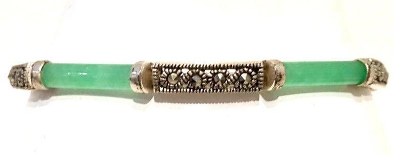 20th Century 925 Sterling Jadeite & Marcasite Link Bracelet For Sale 1