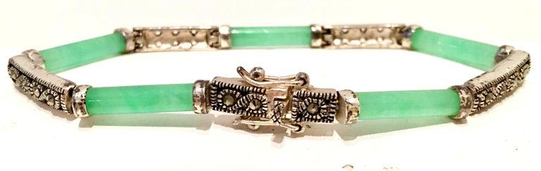 20th Century 925 Sterling Jadeite & Marcasite Link Bracelet For Sale 2