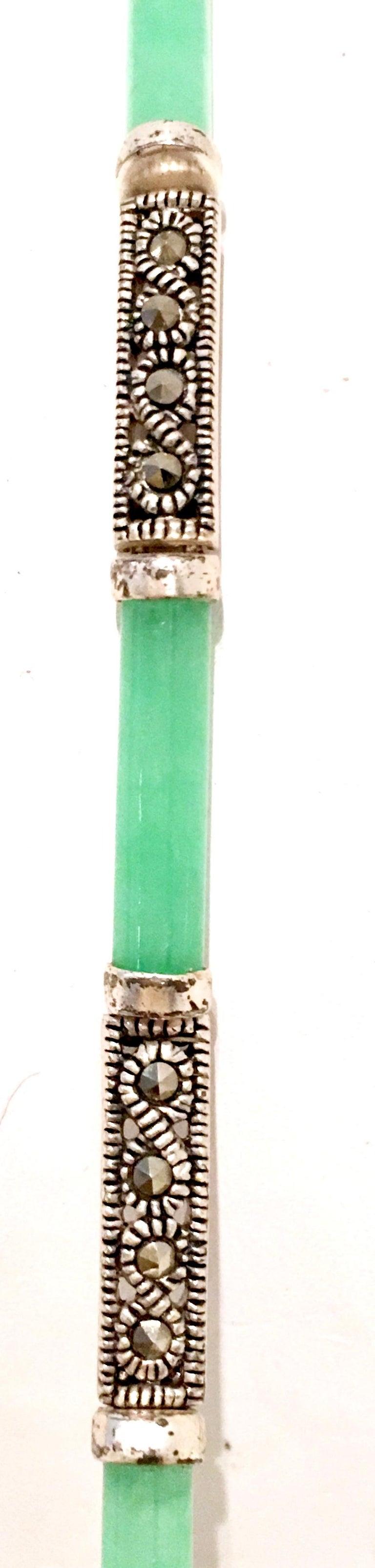 20th Century 925 Sterling Jadeite & Marcasite Link Bracelet For Sale 4
