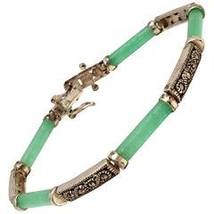 20th Century 925 Sterling Jadeite & Marcasite Link Bracelet