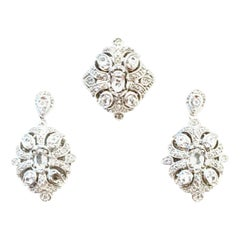20th Century 925 Sterling Silver & Austrian Crystal Earrings & Ring S/3