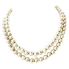 """20th Century 925 Sterling Silver Bead 36"""" Opera Length Necklace"""
