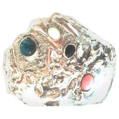 20th Century 925 Sterling Silver & Semi Precious Stone Cuff Bracelet
