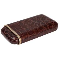 20th Century 9k Gold & Crocodile Leather Cigar Case, London, C.1958