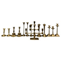 20th Century Swedish, Danish Collection of Fourteen Brass Candlesticks