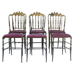 20th Century a Set of Six Chiavari Modernist Brass Chairs