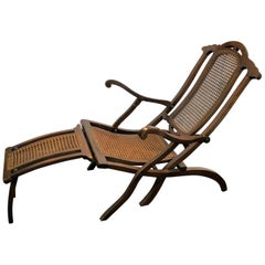 20th Century a Solid Mahogany and Straw Chaise Lounge