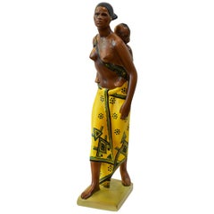 20th Century Abele Jacopi Ceramiche Lenci Abyssinian Mother, 1930s