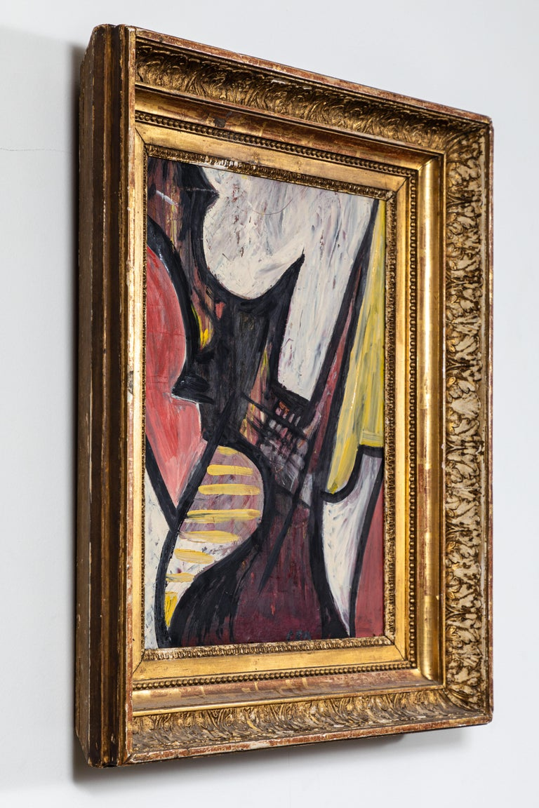 Striking abstract painting, oil on board, unsigned and untitled, circa midcentury. Bold colors of pink, yellow and black. 19th century gold gilt frame in the classic style.