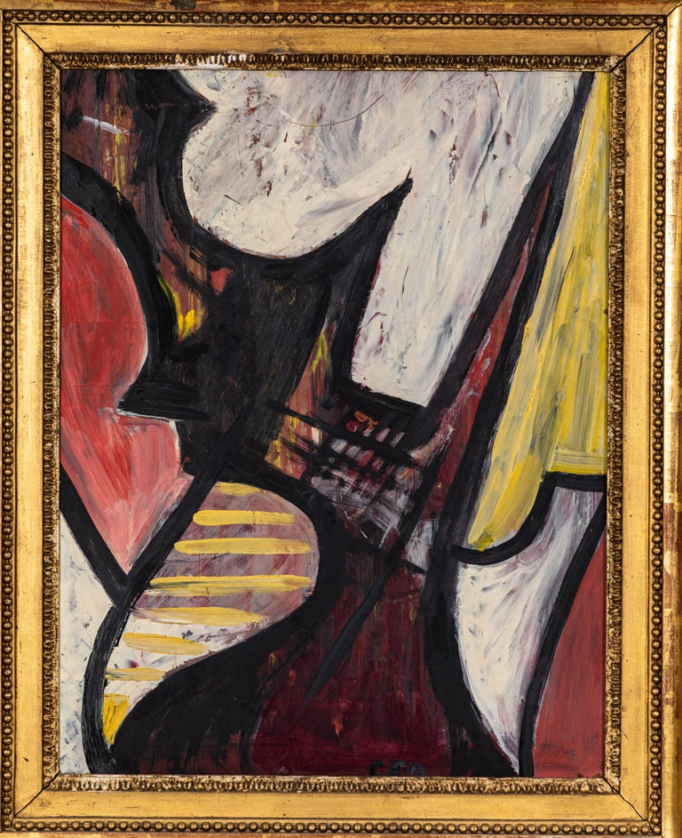 American 20th Century Abstract Oil on Board For Sale