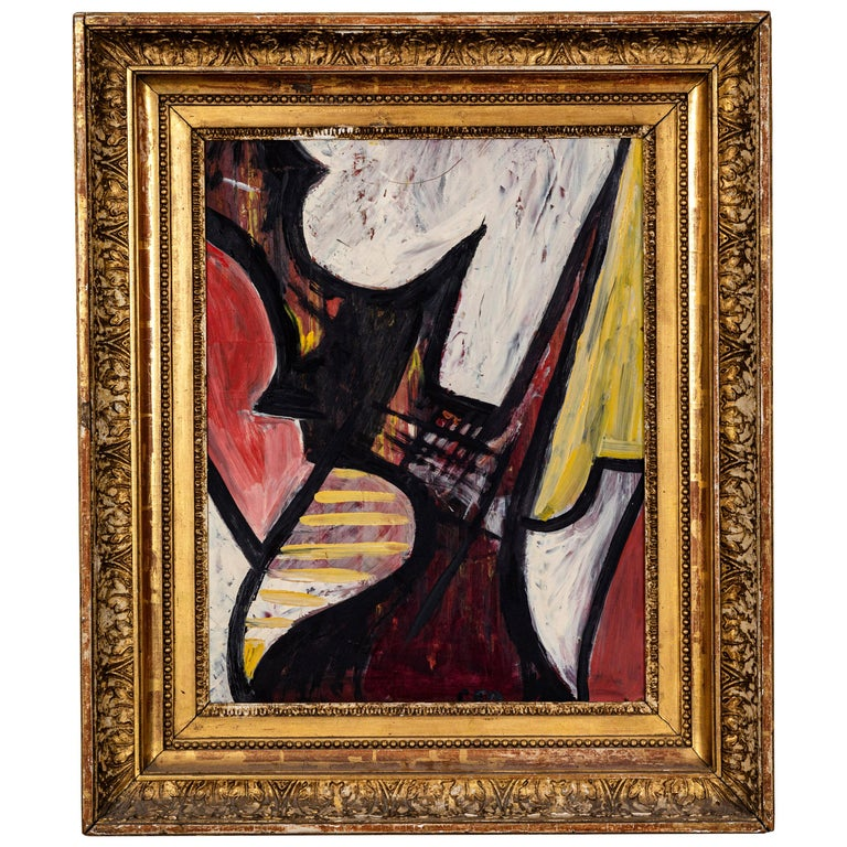 20th Century Abstract Oil on Board For Sale