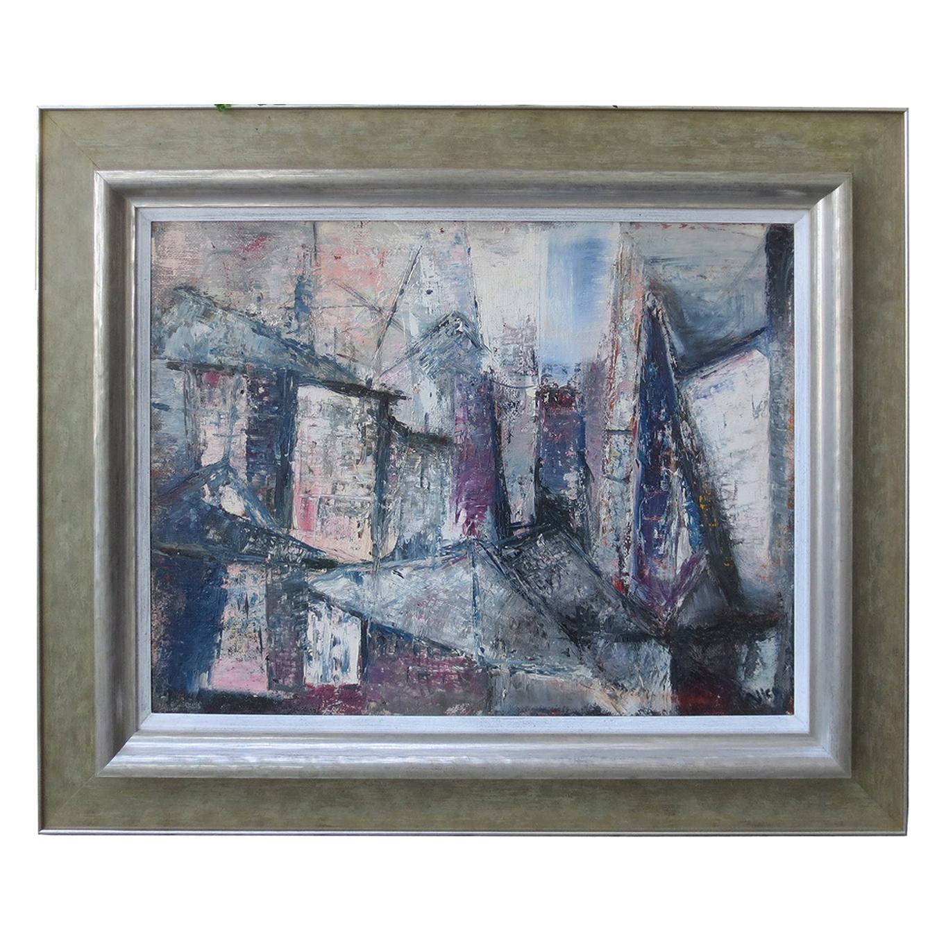 """20th Century Abstract Oil Painting """"Structural Square"""" by Doris R. Allen, Signed"""