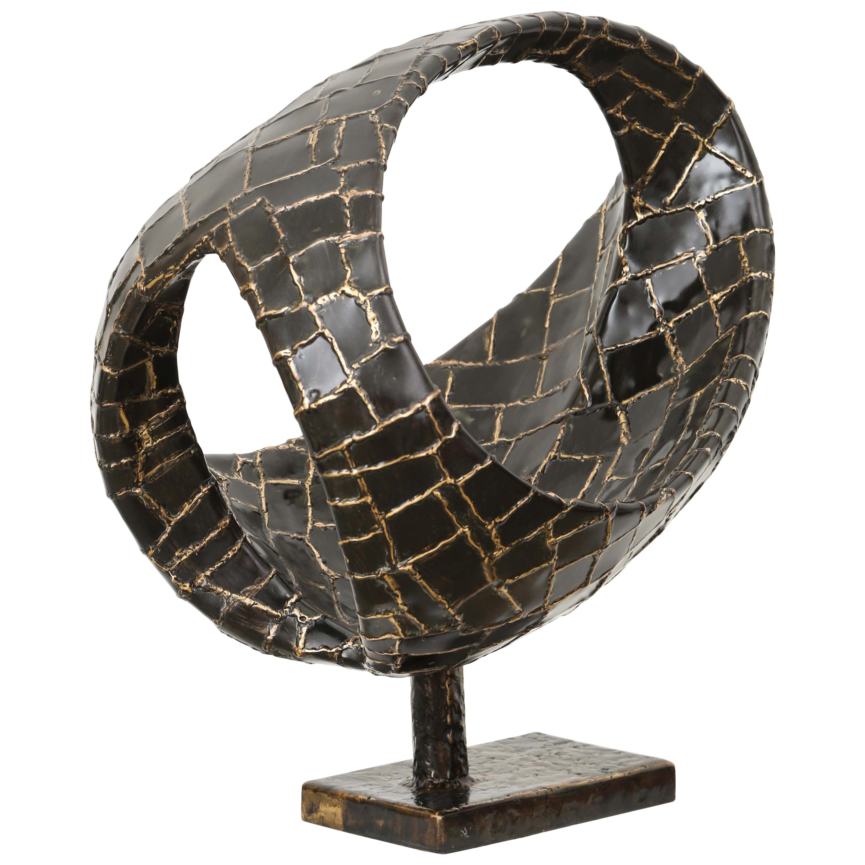 20th Century Abstract Oval Bronze Sculpture by Jacques Duval-Brasseur