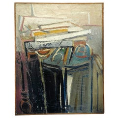20th Century Abstract Painting of Books on a Console by Daniel Clesse