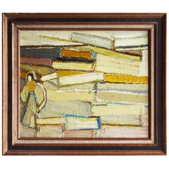 20th Century Abstract Stacked Books, French Painting by Daniel Clesse