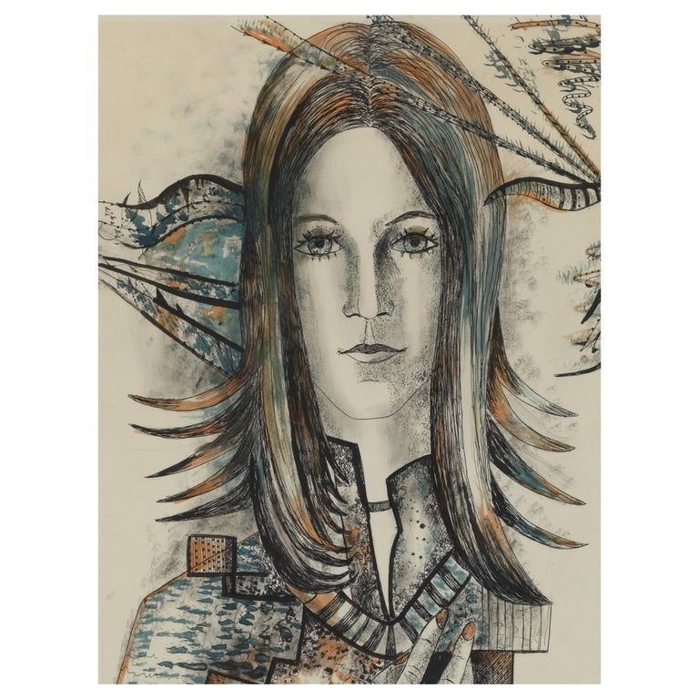 20th Century, Acarin Marguerite, Self Portrait, Drawing on Paper, Framed For Sale