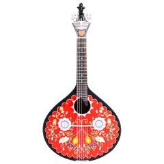 20th Century Acessorie Minho Guitar Walnut Wood Hand Painted