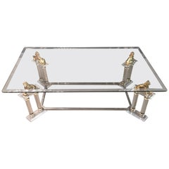 20th Century Acrylic Table with 4 Lions Table, Empire Style