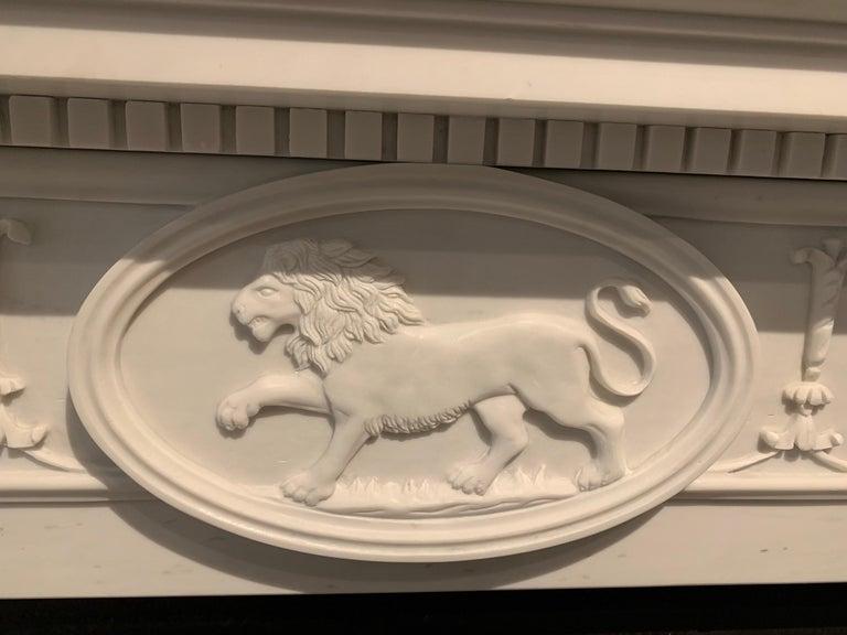 English 20th Century Adam Style Statuary Marble Mantelpiece For Sale
