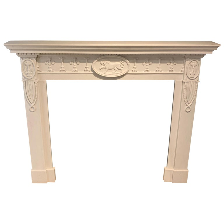 20th Century Adam Style Statuary Marble Mantelpiece For Sale