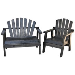20th Century Adirondack Black Painted Patio Chair and Bench
