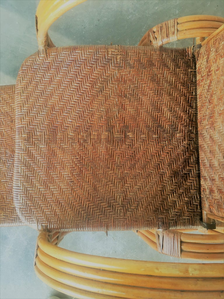 20th Century Adjustable Bentwood and Rattan Chaise Longue  with Ottoman Inserted For Sale 8