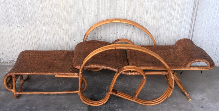 20th Century Adjustable Bentwood and Rattan Chaise Longue  with Ottoman Inserted In Good Condition For Sale In Miami, FL