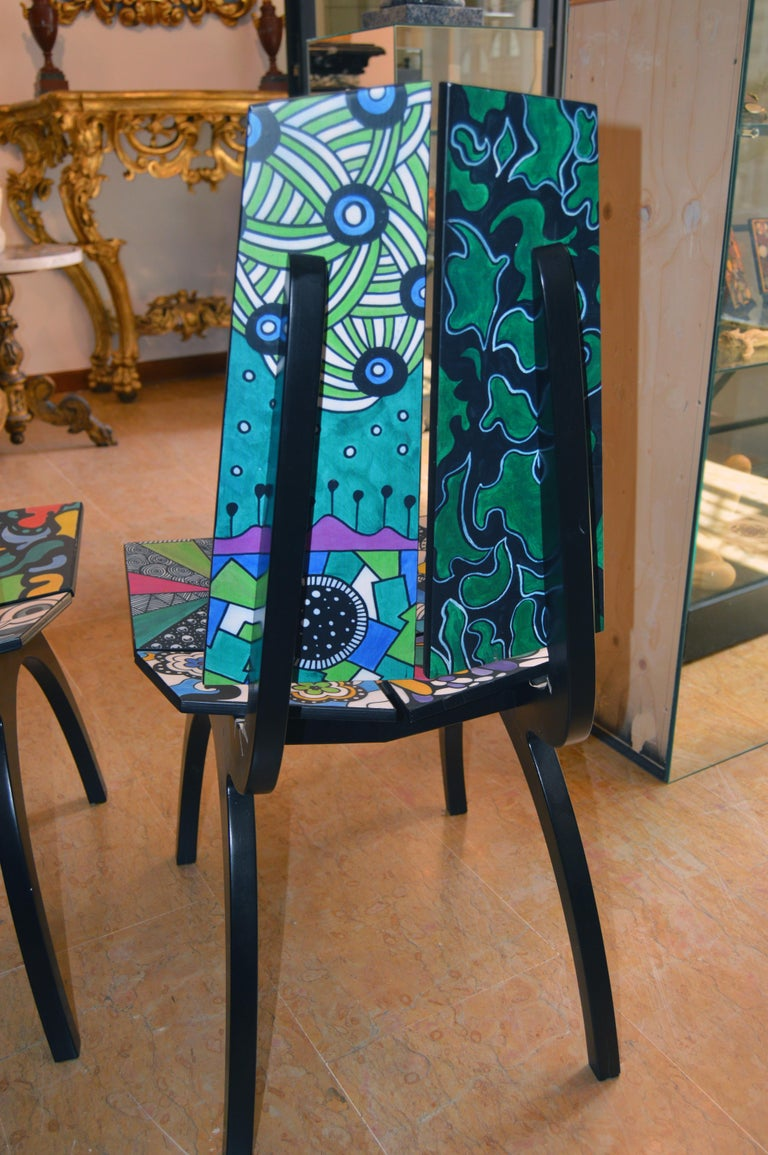 Painted 20th Century after Frank Lloyd Wright Pair of Sculpture Chairs by Grazia Fanfani For Sale