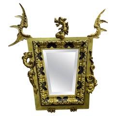 20th Century After Gabriel Viardot Dragon Mirror, Gilded Wood Art Nouveau