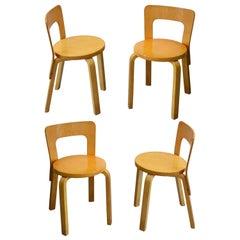 20th Century Alvar Aalto Set of 4 Chairs Model 65 for Artek in Birch Wood