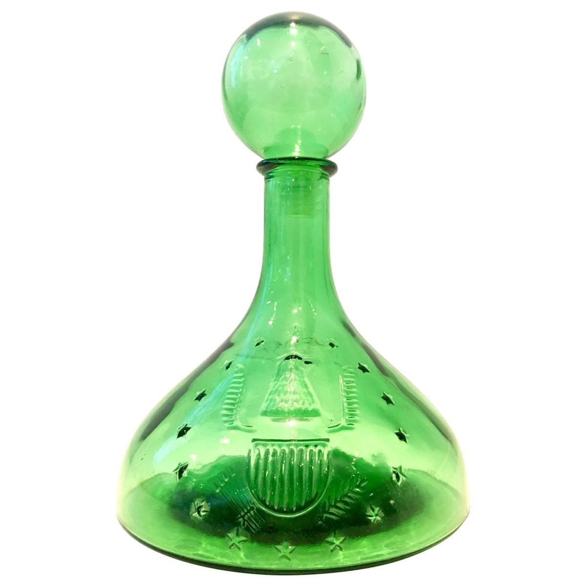 """20th Century American Blown Glass """"American Eagle"""" Liquor Decanter"""
