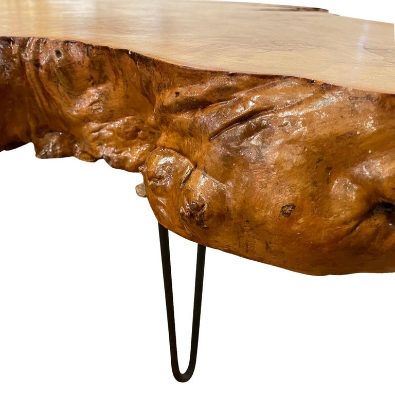 Hand-Carved 20th Century American Burlwood Coffee Table For Sale