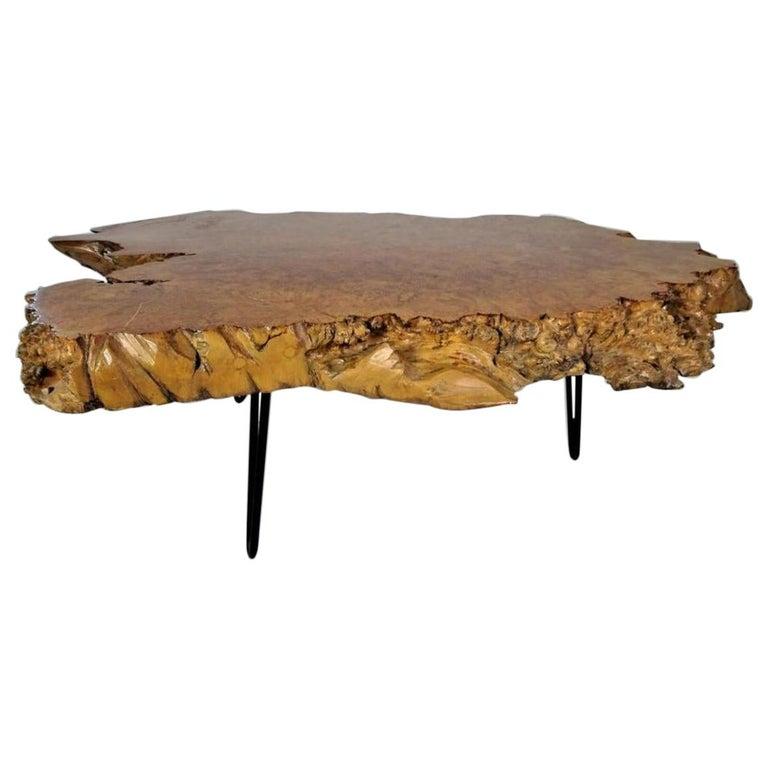 20th Century American Burlwood Coffee Table For Sale
