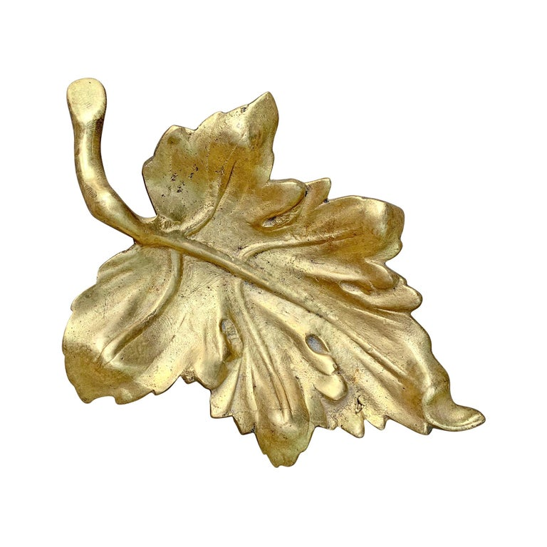 20th Century American Cast Bronze Leaf Dish For Sale