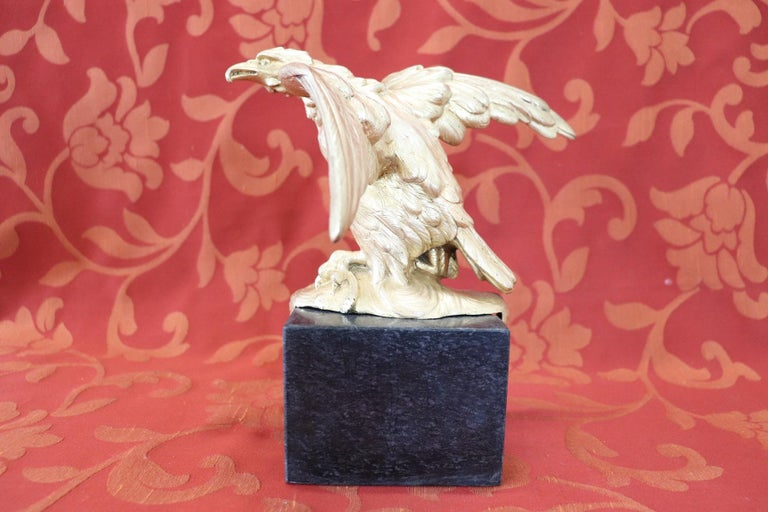 20th Century American Eagle in Gilded Bronze on a Marble Base, 1940s For Sale 4