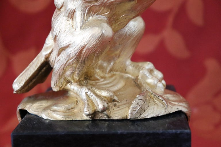 20th Century American Eagle in Gilded Bronze on a Marble Base, 1940s In Excellent Condition For Sale In Bosco Marengo, IT