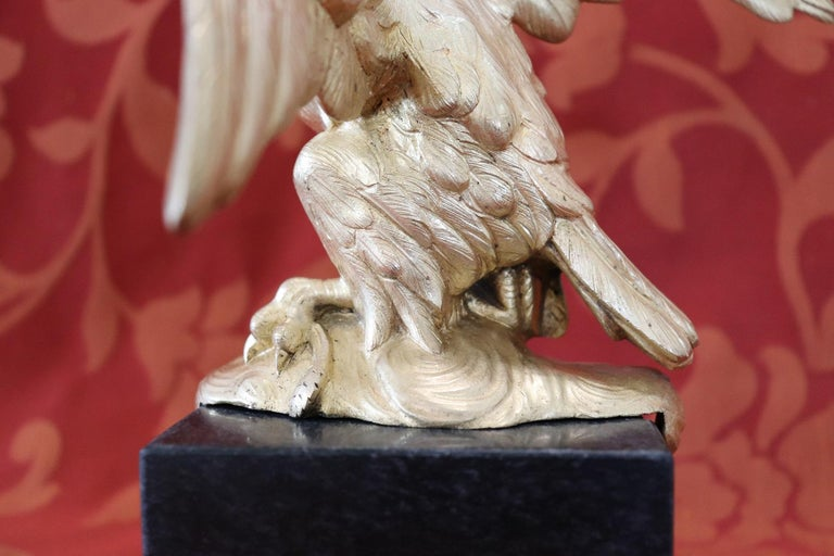 20th Century American Eagle in Gilded Bronze on a Marble Base, 1940s For Sale 3