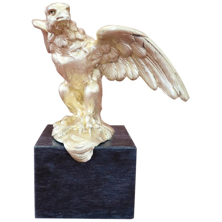 20th Century American Eagle in Gilded Bronze on a Marble Base, 1940s For Sale
