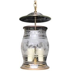 20th Century American Etched Hurricane Shaped Lantern